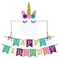 Cha Long 1のセットHappy BirthdayホオジロバナーレインボーユニコーンのテーマパーティーFavorsデコレーション、Cute Fantasy Fairy Girls誕生日パーティーSupplies Favors Decorations