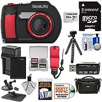 Sealife dc2000HD水中デジタルカメラwith 64GBカード+バッテリー&充電器+ケース+三脚+吸盤マウント+フローティングストラップ+キット