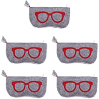 Baosity 5pcs Soft Felt Eyeglasses Sunglasses Reading Glasses Carry Case Pouch Bag - Red, as described