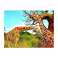 Baoblaze DIY 5D ダイヤモンド絵画 ラインストーン 40×30cm 刺繍 キット ホーム ルーム 装飾 全4種 - キリン