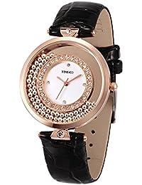 TIME100 ファッション ダイヤモンド付け 本革 クォーツ レディース 腕時計 #W50446L.01A (ブラック)