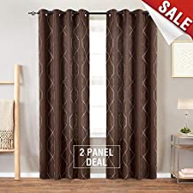 "jinchan Sheer Embroidered Curtains for Living Room Grommet Top Embroidery Curtains for Bedroom 84"" L Brown"