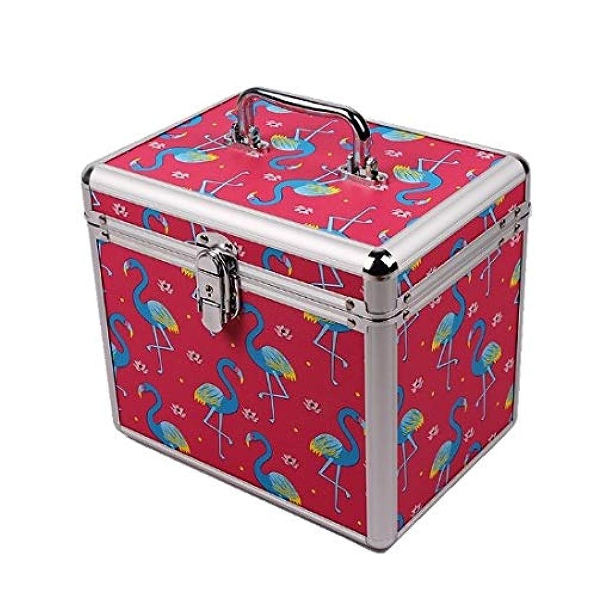 どっちボーダースクランブル化粧品ケース、ポータブル二重層ロックフットバス技術者ポータブルツールボックス、ポータブル旅行化粧品ケース、美容ネイルジュエリー収納ボックス (Design : 1#)