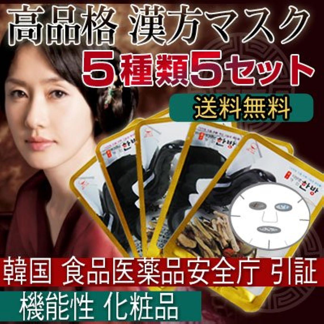 バトル無臭多くの危険がある状況漢方シートマスクパック 5種類5セット