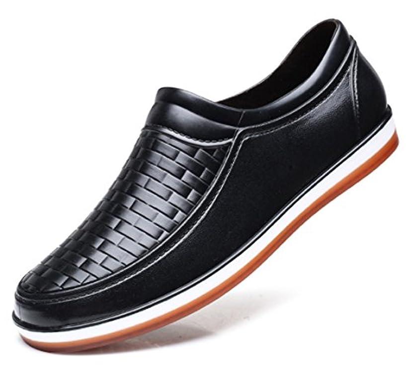 スコア実行熱心な(ケーエスハッピー) KsHapp-y メンズ レインシューズ スリッポン雨靴 雨具 スニーカー ローファー (44(27cm, 黒)