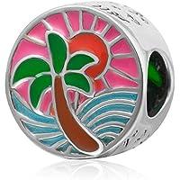Choruslove Tropical SunsetチャームMixカラフルなエナメルPalm Tree Ocean Sunのビーズ3mmブレスレット