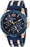 [ゲス] GUESS 腕時計 Men's Iconic Blue Multi-Function Sport Watch with Day, Date, 24 Hour Int'l Time & Comfortable Silicone Strap クォーツ U0366G4 メンズ [バンド調節工具&高級セーム革セット]【並行輸入品】