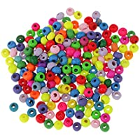 Baosity 200Pcs Color Ellipse Solid Wood Beads Color Large Hole Wood Beads Charms DIY