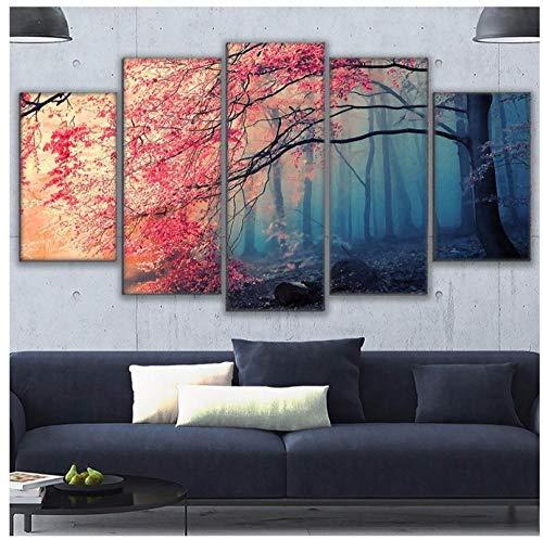 HDプリント現代壁アートキャンバス家の装飾リビングルーム桜写真赤い木森林絵画30×40×2 30×60×2 30×80 CMX1