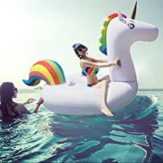 Asamoom ユニコーン浮き輪 浮き輪 強い浮力フロート海 プール 海水浴適用 200x100x90 cm 持ち運びバックパック付き