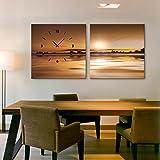 E-HOME 現代風景画夕日の湖の景色でクロックでキャンバス2ピース壁時計 アート油絵 壁時計 芸術と油絵 装飾の絵画壁時計 置き時計 掛け時計 壁掛け キャンバスの鐘 (50x50cmx2pc)