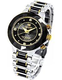 [ジョン・ハリソン]J.harrison 腕時計電波ソーラー4石天然ダイヤモンド付セラミック JH-024LBB レディース 【正規輸入品】