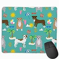 Pitbull Beach夏の犬の品種ペットの恋人のピブルティールマウスパッド 25 x 30 cm