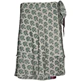 Womens Wrap Around Skirt Printed Recycled Sari Two Layer Reversible Mini Skirts (Green)