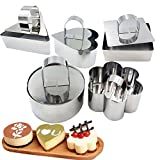 10 pcs/set Rvs Cake Ring Cake Mold DIY Magic Bake Baking Mould Tool Design Your Pastry Dessert with Any Pan Shape, 3x3 inch Square Dessert Mousse Mold with Pusher Lifter Cooking Rings, Fitted Press & Transfer Plate (stainless steel)