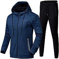 Mens Tracksuit Set, Hoodies Zip Trousers Gym Sports Suit Sets Joggers Pants (Color : Blue, Size : S)