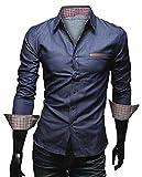 [50dB] メンズ シャツ 長袖 カジュアル 大きめ ギンガム フルオープン レギュラーカラー インディゴ vネック ビジネス クロス スリム ポケット つき 七分袖 しちぶそで オーバー メンス゛ (ネイビー XXL)