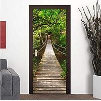 Xbwy Pvc木製跳ね橋防水壁画壁紙ドアステッカー寝室のドアリフォーム中国風壁画家の装飾-200X140Cm