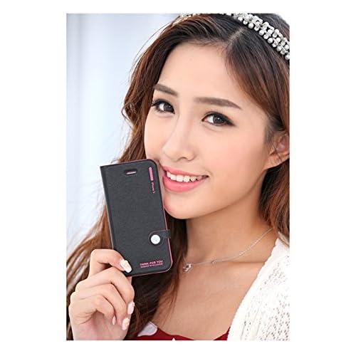 i-pone6 アイフォン6 手帳型 レザーケース カラフルツートン (黒/ピンク)