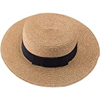 Lawliet Retro Womens Flat Top Panama Boater Dress Straw Beach Sun Hat T241