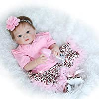 annedoll 22インチRealistic Reborn人形ベビーガールズフルボディシリコン赤ちゃん(防水、レッドスキン、青い目)可愛い赤ちゃん誕生日ギフトPlayhouse人形withマグネット口