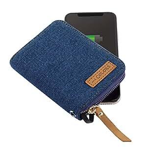 モバイルバッテリー RZSB by andCOLORS 4000mAh iPhone/Android同時充電 カード&コイン収納 デニム調 (ブルー)