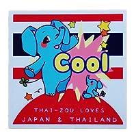 タイぞう ラブ ジャパン & タイランド ステッカー [Cool(超いいね)/ホワイト] 6×6cm t5 (THAI-ZOU sticker)