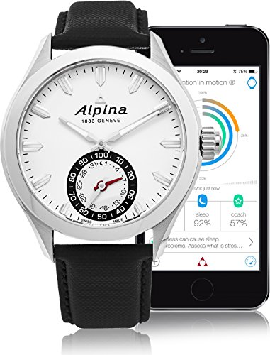 Alpina Horological SmartwatchメンズFitness Watch – 44 mmシルバー面Swiss Quartz 2 Year Battery Life Running Watch – ブラックレザーバンド防水スリープ監視Activity Tracker Watch al-285s5aq6