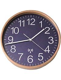壁掛け 電波時計 28cm シンプルデザイン ネイビーブルー色 正確な時間を刻むオシャレな時計 自動時刻修正 アウトレット品