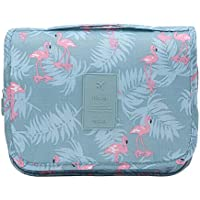Hanging Travel Toiletry Bag - Auma Portable Storage Bag, Travel Organizer, Business Toiletries Bag for Men Shaving Kit and Waterproof Cosmetic Make up Pouch Case for Women (Blue Flamingo)