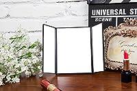 三面鏡 化粧鏡 卓上 LEDミラー ライト付き 折りたたみ式 スタンドタイプ (ブラック)
