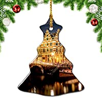 Weekinoオランダオランダアムステルダム橋クリスマスデコレーションオーナメントクリスマスツリーペンダントデコレーションシティトラベルお土産コレクション磁器3インチ