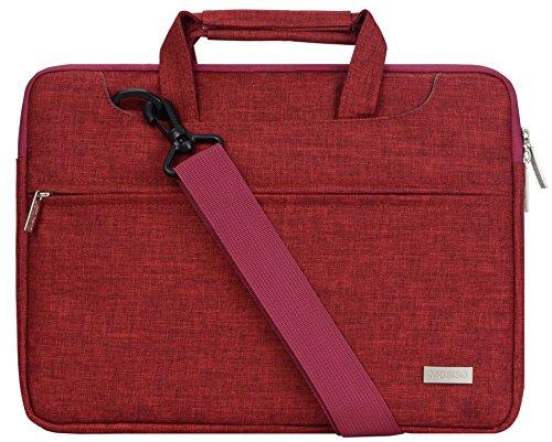 Mosiso ラップトップ ショルダーバッグ/ブリーフ ポリエステル スリーブ ケースバッグ 15-15.6インチ キャリーケース ウルトラブック/ノートパソコン/MacBook Air/MacBook Pro スーツケースためのバックベルト付き (ワインレッド)