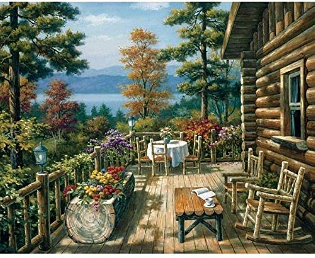 読み書きのできない受け入れるトランペットHNZSデジタル絵画DIYバルコニーテーブル風景壁アート画像結婚式の装飾アクリル画フレームレス40X50CM