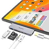 [iPad Pro 2018対応]type-c変換usbハブ タイプC拡張ドック USB-Cポート HDMI TF/SDカード USB3.0モバイルPro Appleアクセサリー アダプター 切替器 ドッキングステーション Microsoft Surface Go