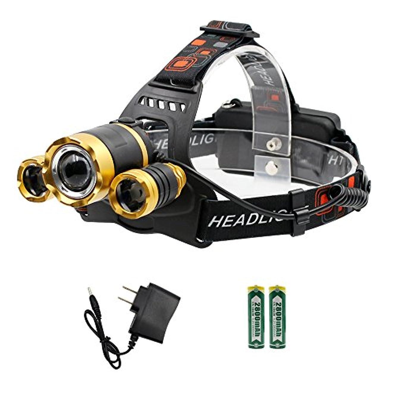 派生するおばあさん湿度LEDヘッドライト LEDヘッドランプ 作業灯 4モード 防水仕様 軽量 高輝度LED 角度調節可能 ズーム機能付 SOSフラッシュ機能 18650リチウムイオン蓄電池 2本付属