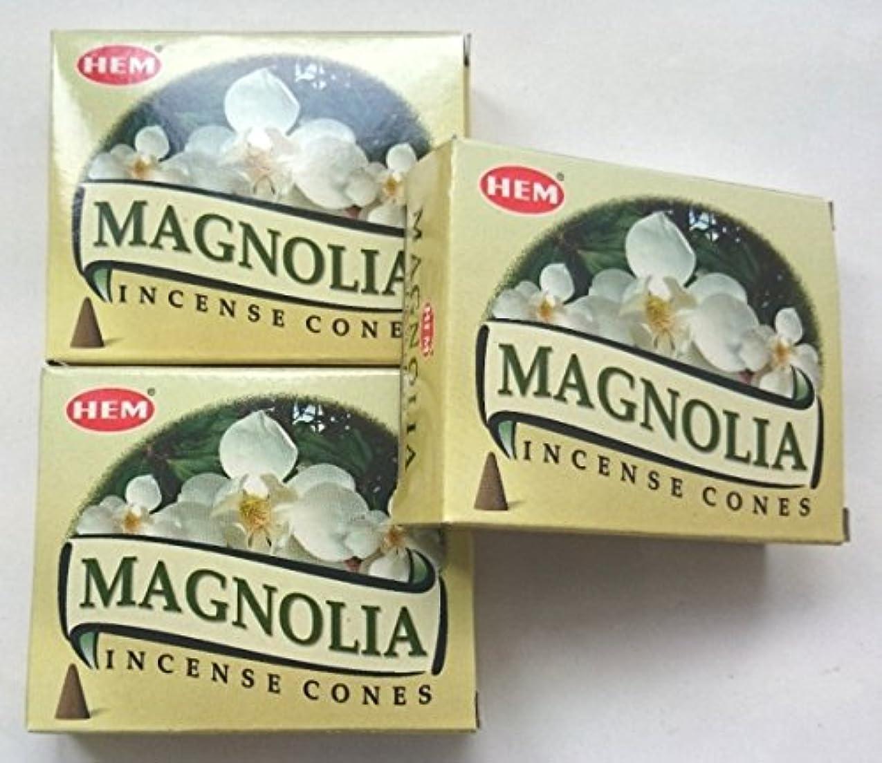 有罪バーター途方もないHEM(ヘム)お香 マグノリア コーン 3個セット