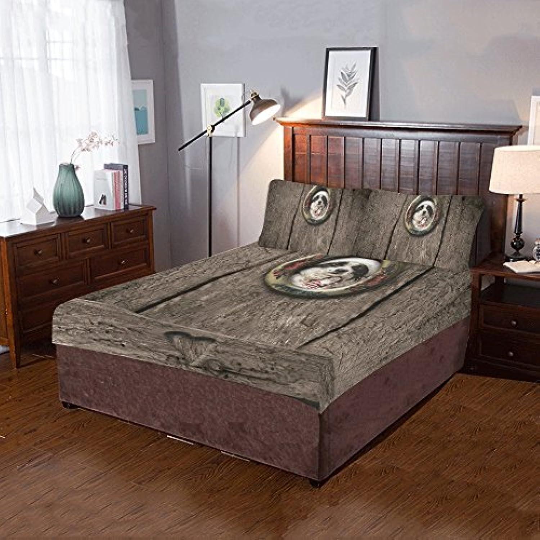 AnnHomeArt可愛い犬とサンタクロースヴィンテージ3ピース寝具セットIncludes 1キルトカバーと枕カバー2枚