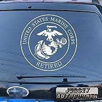 3s MOTORLINE USMC Veteran Retired United States Marine Corpsデカールステッカー車ビニールPickサイズカラーDie Cut A 16'' (40.6cm) ブラック 20180326s5