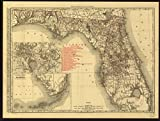 マップ: 1900The rand-mcnally Indexed郡TownshipポケットとShippersガイドのフロリダshowingすべての鉄道、都市、町、村、投稿オフィス、湖、川、など、Shows in Detail全体を