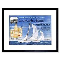 Advert Drink Alcohol Gin Seagram Yacht Ocean Sail Framed Wall Art Print 広告ドリンクアルコール海洋帆壁
