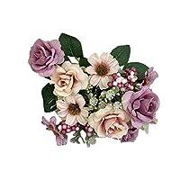ボコダダ(Vocodada) 造花 枯れない花 満開のバラ 薔薇 ローズ 小さな薔薇 偽花 装飾花 偽の花 装飾 花 人工花 偽花 アートフラワー 置物 観葉植物 インテリア ホームデコ パーティ 飾り 贈り物 10本 1本売り 選べる6色 (パープル)