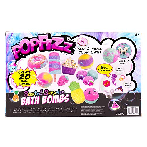 Pop Fizz Scented Surprise DIY Bath Bombs Kit by Horizon Group USA, Create 20 Sweet Treats Scented Colorful Bath Bombs with Essential Oils