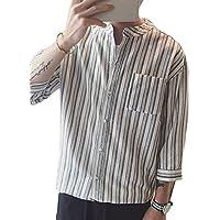 (ジェームズ・スクエア)James Square ノーカラーシャツ 七分袖 ストライプ メンズ
