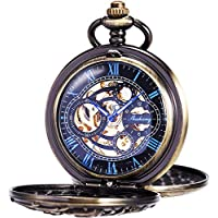 Mens Antique Skeleton Mechanical Pocket Watch with Chain- Dragon Hollow Hunter ManChDa
