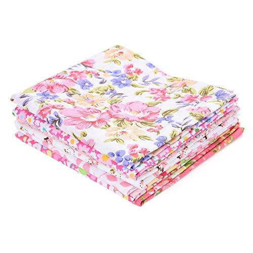 QIN パッチワーク 生地 布地 平織り 綿地布 綿 プリント生地 ピンクシリーズ DIY縫う手作りの布地 7種類セット 選べる2サイズ 50x50cm