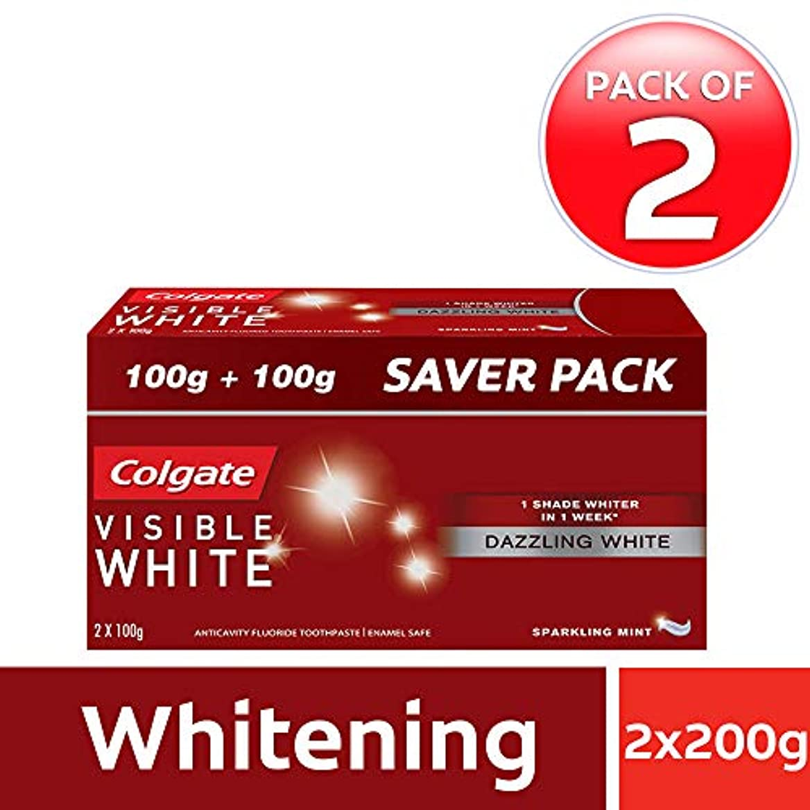 勝利においハロウィンColgate Visible White Dazzling White Toothpaste, Sparkling Mint - 200gm (Pack of 2)