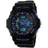BesWlz多機能デジタルLEDクォーツ腕時計防水電子スポーツの男の子の女の子の腕時計子供の子供の贈り物 (青)