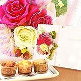 アレンジメント プリザーブドフラワー 花とセット 写真立てタイプ カップケーキスイーツ付き ギフトセット(チェリーピンク)