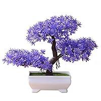 B、M:三叉ボールパインウェディングパーティー人工植物のホームインテリアをご挨拶13色の鉢植えの花盆栽まつり桜のフェイク